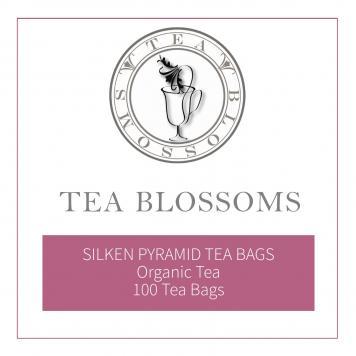 Tea Blossoms Organic Tea in Silken Pyramid Tea Bags - 100 tea bags